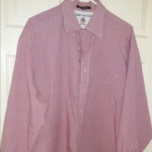 TOMMY HILFIGER RED WHITE CHECK LARGE OXFORD SHIRT